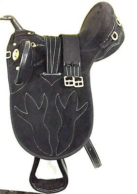 New Synthetic Suede Australian Stock Saddle With Horn Black Color