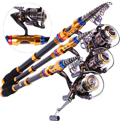 Carbon Telescopic Fishing Rod Pole With Metal Spinning Reel Rods & Reels Set