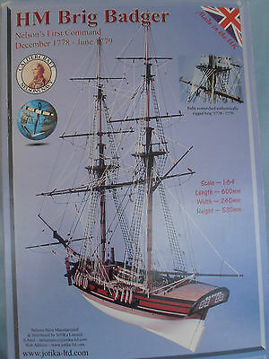 HM Brig 'Badger' Nelson's First Command - Wooden Ship / Boat Kit Jotika UK NEW