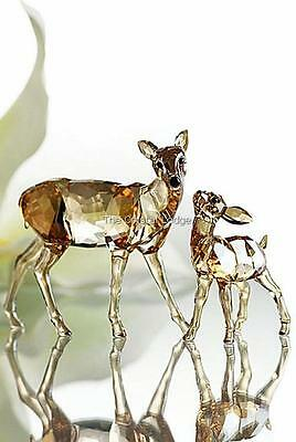 Swarovski Crystal Doe And Fawn (Golden Shadow) 1142843 Mint Boxed Retired