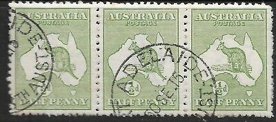 ROO'S     1/2d  GREEN  1st WMK  STRIP of 3  FINE USED