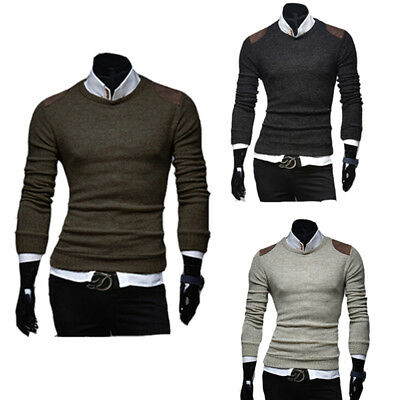 Fashion Outfit Men's Casual Solid Soft Knitted Long Sleeve V-neck Sweater USA