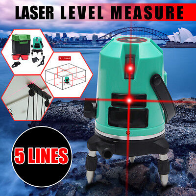 360° Rotary Red 5 Line Laser Level Automatic 4V 1HSelf Leveling Cross Measure