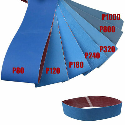SANDING BELTS 100 x 915mm P80, 120, 150, 180, 240, 320, 800, 1000 GRIT Set Blue