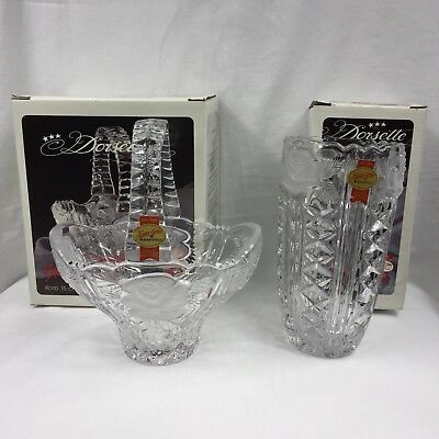 Vintage 1990s Anna Hutte Lead Crystal Floral Basket & Vase Set Germany Boxed NEW