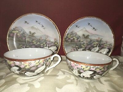 Kutani Eggshell Pair of Beautifully Decorated Cups & Saucers,Herons & Landscape