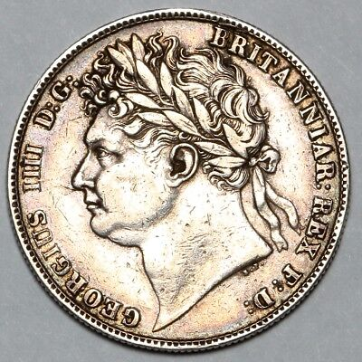 1823 King George Iiii Iv Great Britain Silver 1/2 Halfcrown Half Crown Coin