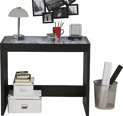 New York City Landscape Glass Top And Black Ash Effect Office Desk Console Table