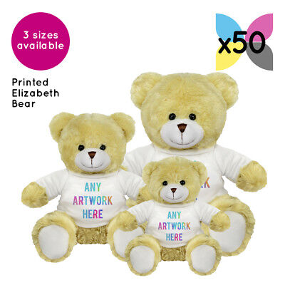 50 Personalised Promotional Soft Toys Elizabeth Teddy Bears Gifts Logo Printed