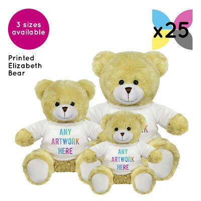 25 Personalised Promotional Soft Toys Elizabeth Teddy Bears Gifts Logo Printed