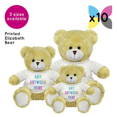 10 Personalised Promotional Soft Toys Elizabeth Teddy Bears Gifts Logo Printed