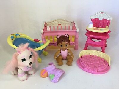Fisher Price - Snap N Style - Baby Nursery Lot including Baby & Dog
