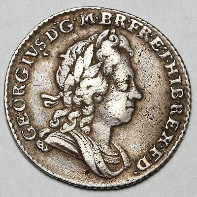 1723 King George I Great Britain Silver Sixpence Six Pence 6D Coin