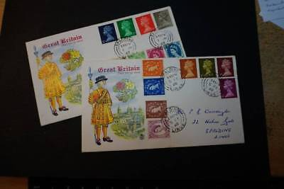 1968 Collection of Machin & Wildings on 2 first day covers   (J014)