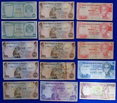 1973 < 1994 Malta Liri Lot/Collection Of 15 Banknotes 1Lm<5Lm Circulated.