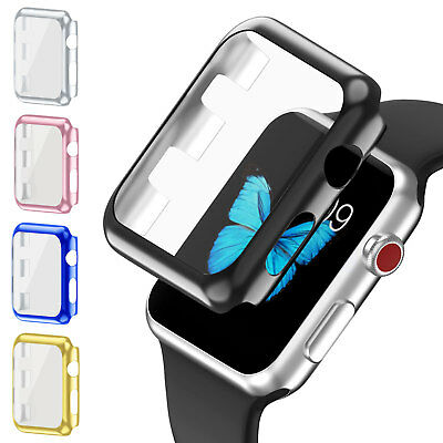 Full Body Cover Snap On Metal Case+Screen Protector for Apple Watch 3 38/42mm