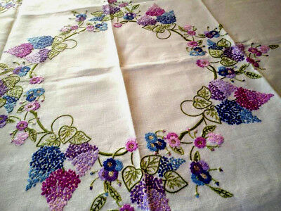 "Exceptional Lilac Garland/ Circle ~Vintage Lrg Hand Embroidered Tablecloth 49""Sq"