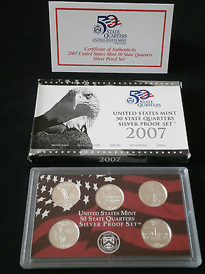 US State Quarter Silver proof Set  2007 - Komplett PP - 900er Silber