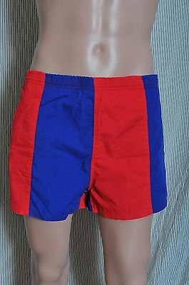 Vintage '80s Men's very short royal and red swim trunks bathing suit L