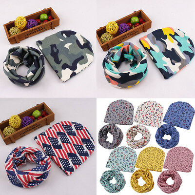Autumn Winter Warm Baby Girl Boy Kids Soft Cotton Beanie Hat Cap+Snood Scarf Set