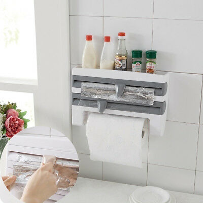 Wall Mounted Kitchen Roll Holder Foil Film Sauce Kitchen Towel Paper Dispenser