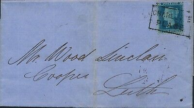 1855 SG34 2d blue cover to leith cancelled with Charlotte Street Scots Local