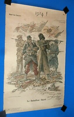 AUTHENTIC UNIQUE STAMP POSTER OF PROPAGANDE by Maurice Neumont 1914 dedicace &si