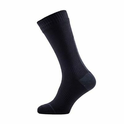 SealSkinz Road Thin Mid Waterproof Bike Cycling Socks - Black/Grey - Large
