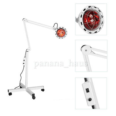 Infrared Floor Stand Heat Lamp Health Pain Relief Therapy 275W Adjustable White