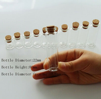 50 X 22*80mm Multi Purpose Bottle Transparent Craft Glass With Corks Wish Bottle