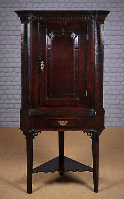 Antique Georgian Oak Corner Cupboard on Stand c.1780.