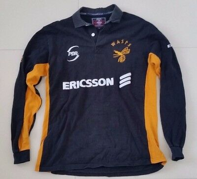 Vintage London Wasps UK Rugby jersey Size L Black Yellow