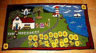 """""""Summer in the Maritimes """" Original, One of a Kind Hooked Mat on Burlap"""
