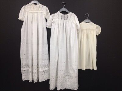 Vintage 3x Broderie Anglaise Childrens Christening Gowns (BOX 23)
