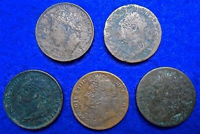 1826 & 1827 Great Britain KGIV King George IV 5 X Farthings Old Coin Collection.