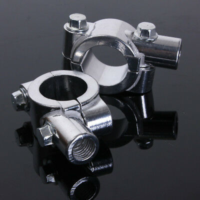 "7/8"" MOTORCYCLE HANDLEBAR MIRROR ADAPTOR CLAMP ON MOUNT BRACKETS 10mm MIRRORS"