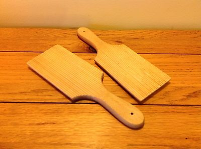 Vintage Pair Wooden Wood Ribbed Dairy Butter Pats Paddles Film Prop