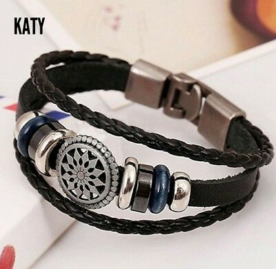 Vintage Leather WRISTBAND BRACELET CUFF Charm Friendships Infinity GIFT