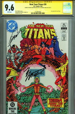 9.6 CGC SS New Teen Titans 30 Signed Marv Wolfman George Perez Art Terra Joins