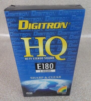 Digitron HQ E180 3 Hour Blank VHS Video Tape - PAL SECAM - New Sealed