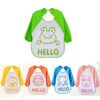 Toddler Baby Boy Girl Long Sleeve Waterproof Bibs Feeding Apron Burp Cloths Hoc