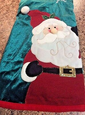 "Trimming Traditions 48"" Christmas Tree Skirt Santa Dark Green Red NWT"