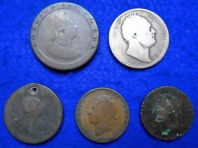 1797, 1799,1826 & 182* GB KGIII, KGIV & KWIV ½d,1d & HC Old Coin Collection.