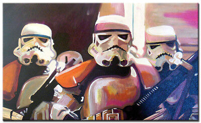 Oil Painting Canvas Art- Star Wars -Storm Troopers  *100% HAND PAINTED*