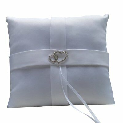 White Double Heart Diamante Ring Pillow Wedding Ring Bearer Cushion SS