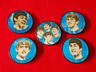 "1964 ""The Beatles"" John, Paul, Ringo & George Vari Vue Flicker Pinback Button"