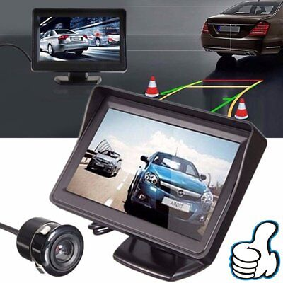 "4.3"" TFT LCD Monitor Car Rear View Reverse Back Up Camera Kit Night Vision XJ"