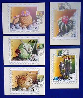 2002 Collection Of Full SET MaltaPost Cacti & Succulents Post Cards 5V JB:P10/4.