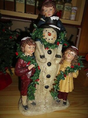 vintage xmas large figureine victorian snowman and children