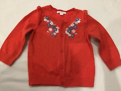 Purebaby Girl's Red Emroidered Knitted Cardigan Size 0